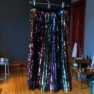 JOA Sequin Midi Skirt Multi xs NWT